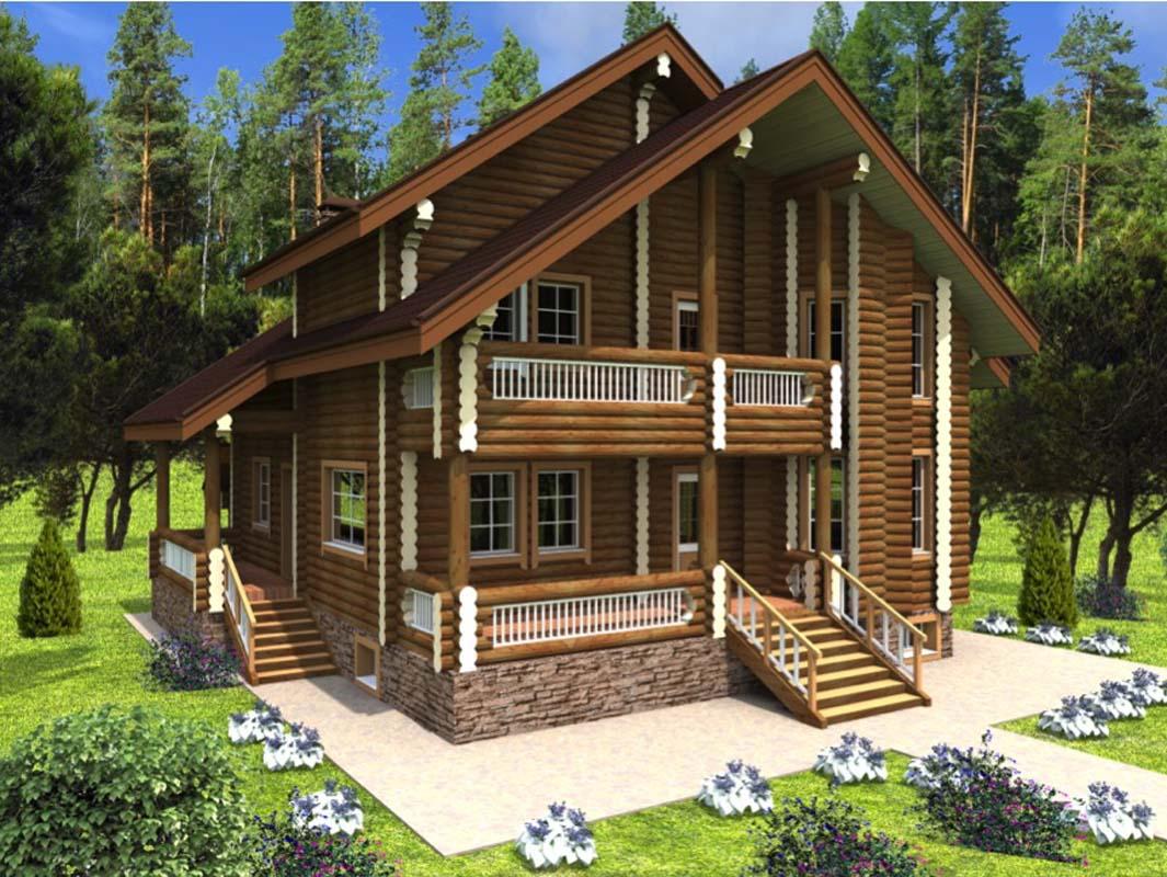 двухэтажный дом из бревна фото